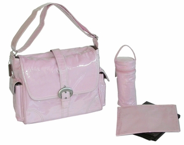 Baby Pink - Laminated Buckle Diaper Bag by Kalencom