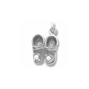 Baby Shoes 3D Charm with Pearl by Forever Charms