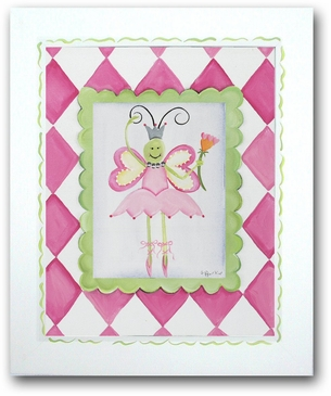 Ballerina Butterfly - Ballerina Framed Canvas Wall Art
