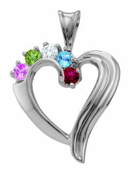 """""""Beautiful Family"""" Heart Necklace in Sterling Silver"""