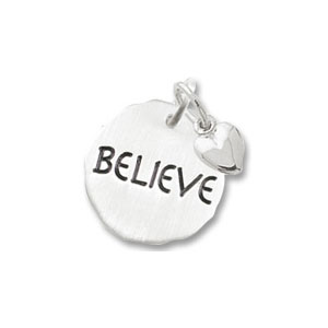 Believe Tag with Heart Charm by Forever Charms - Personalized