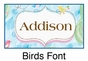 "Birds and Trees Canvas Wall Art Personalized - 10"" x 24"" - click to Enlarge"