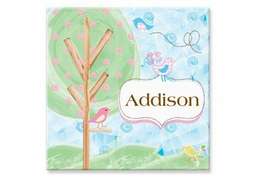 "Birds and Trees Canvas Wall Art Personalized - 15"" x 15"""