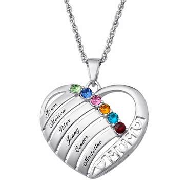 Birthstone Heart Mother's Necklace