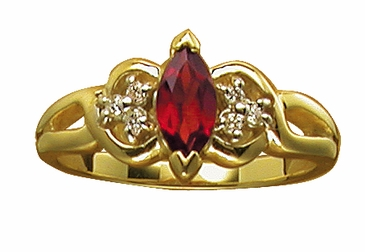 Birthstone Marquise and Diamond Ring