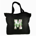Black Canvas Initial Beach Bag