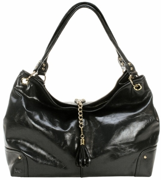 Black Faux Patent Magnolia Baby Bag by Amy Michelle