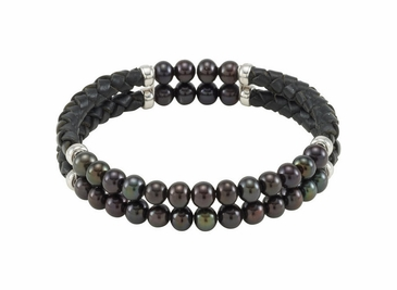 Black pearl and leather bracelet