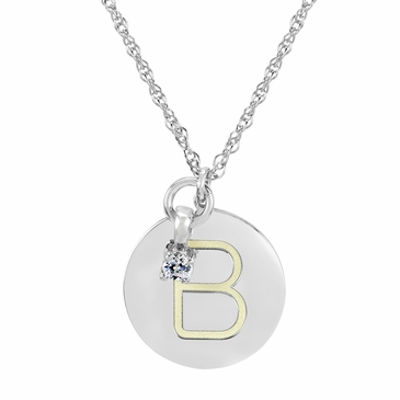 Block Initial Disc and April Birthstone Necklace