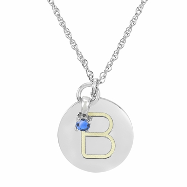 Block Initial Disc and December Birthstone Necklace