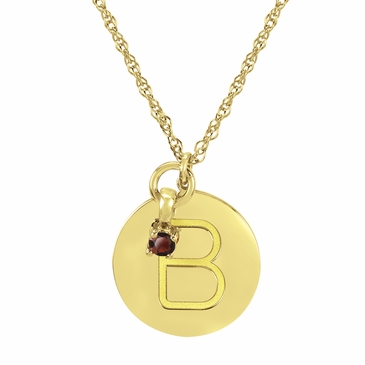 Block Initial Disc and January Birthstone Necklace