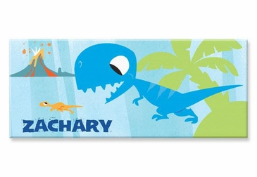 "Blue Dinosaur Canvas Wall Art Personalized - 10"" x 24"""
