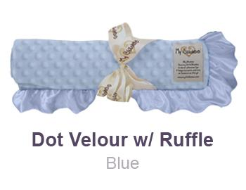 Blue Dot Velour with Ruffle Trim Blanket by My Blankee