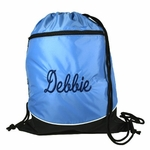 Blue Personalized Drawstring Backpack