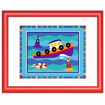 Boats and Buoys Tug Boat Red Framed Print