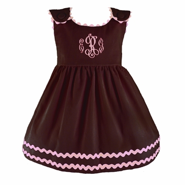 Bon Bon Chocolate Corduroy Dress with Pink Trim