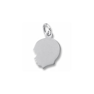 Boy's Head Silhouette Small Charm by Forever Charms - Personalized