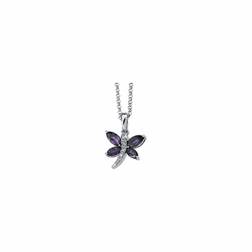 Butterfly Amethyst and Diamond Necklace