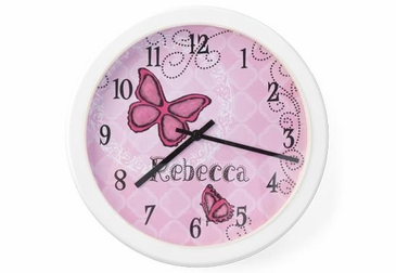 Butterfly Clock Wall Art Personalized