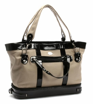Canvas Khaki/Black Diaper Bag by Nest
