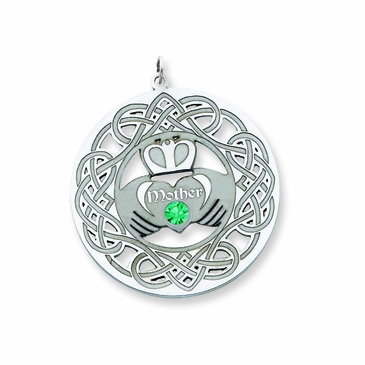 Celtic Claddagh Pendant with Birthstone Sterling Silver