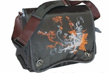 Chocolate Tan Dragon Screened - Sam's Messenger Diaper Bag by Kalencom