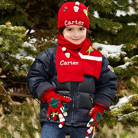 Christmas Knit Hat, Scarf and Glove Set - Personalized