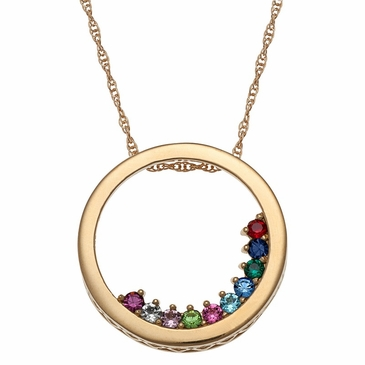 Circle Slider Charm Pendant Necklace