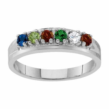 Classic Birthstone Family Ring in Sterling Silver