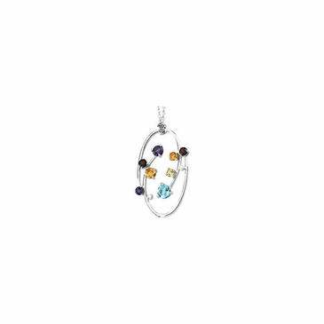 Classy Diamond Necklace with multicolored gems