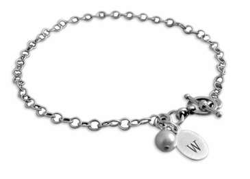 Classy Initial Name Charm Sterling Silver Bracelet