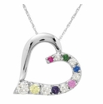 """Close to My Heart"" Gold Pendant Necklace with Birthstones"