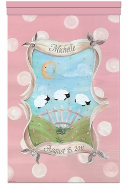 Count The Sheep Prairie Pink Wall Hanging Personalized by Dish and Spoon
