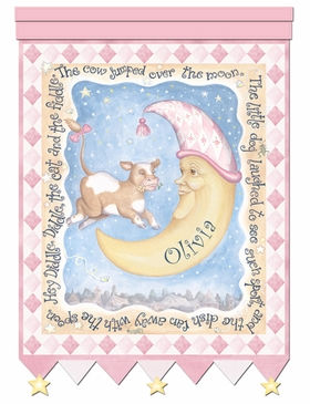 Cow And Moon Hey Diddle Pink Wall Hanging Personalized by Dish and Spoon
