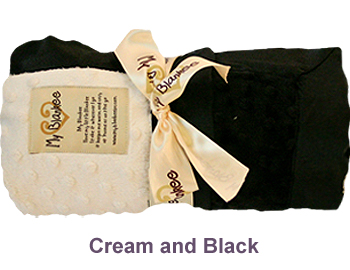 Cream Black Dot Velour Two Tone Blanket by My Blankee