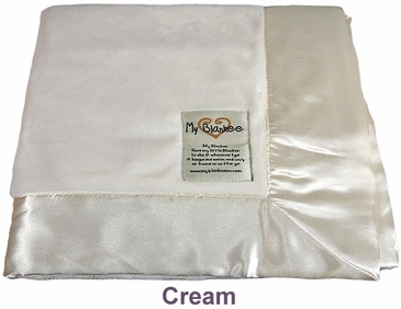 Cream Solid Velour Blanket by My Blankee
