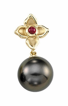 Cultured Earrings with Genuine Ruby Flower and Tahitian Pearl