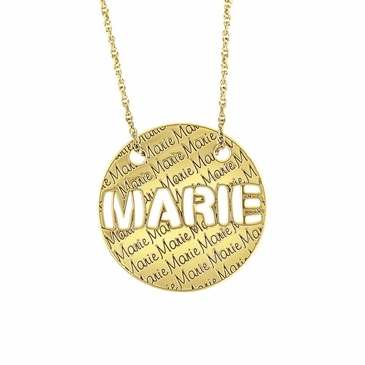 Cutout and Engraved Name Pendant Necklace