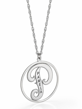 Cutout Script Initial and Name Pendant Necklace