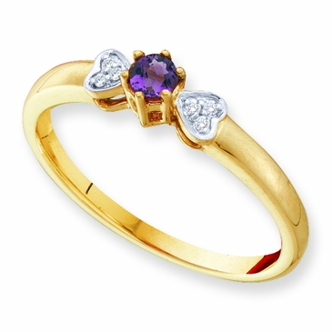 Dainty Diamond Heart and Birthstone Ring - with Genuine Stones
