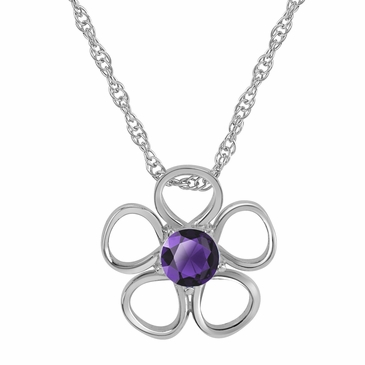 Daisy Birthstone Pendant Necklace - February