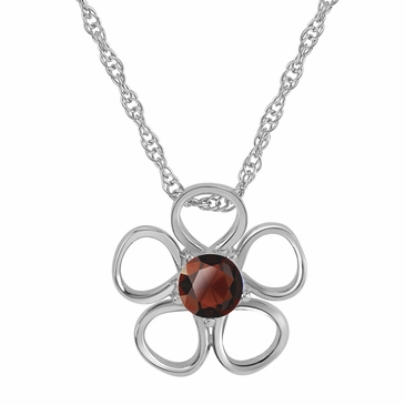 Daisy Birthstone Pendant Necklace - January
