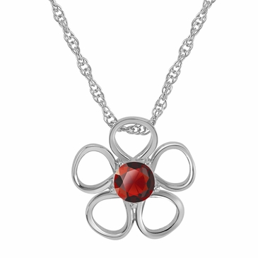 Daisy Birthstone Pendant Necklace - July