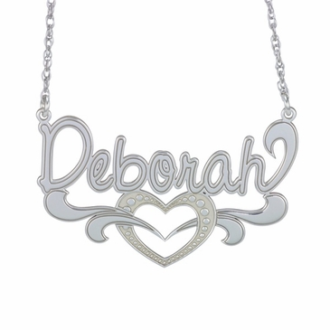 """Delicate Heart"" Script Name Necklace"