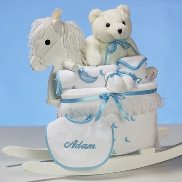 Deluxe Rocking Horse Baby Boy Gift Set - Personalized