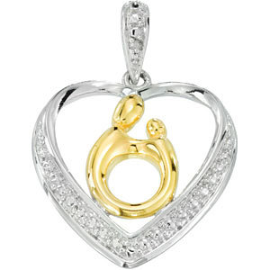 Diamond Heart Mother and Child Pendant