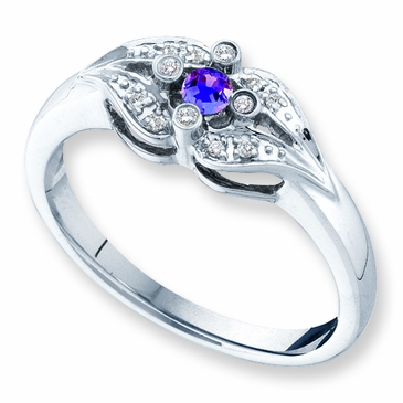 Diamond Kiss Birthstone Ring - with Genuine Stones