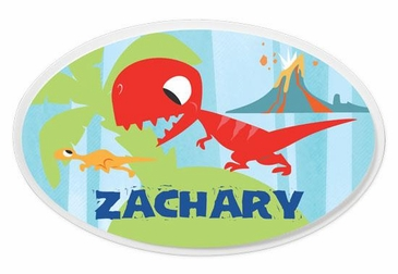Dinosaur Oval Wall Plaque Personalized - Blue