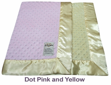Dot Pink Yellow Dot Velour Two Tone Blanket by My Blankee