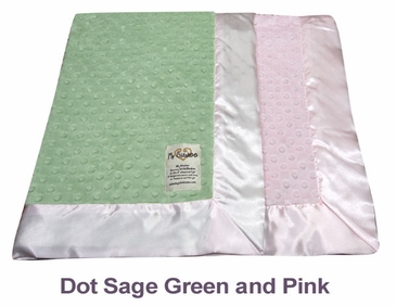 Dot Sage Green Pink Dot Velour Two Tone Blanket by My Blankee